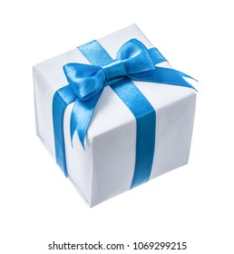 White present box with blue ribbon isolated on white