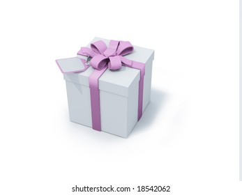 white present box with pink ribbon on white background. FIND MORE present boxes in my portfolio
