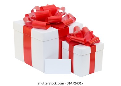 white present box with a red ribbon with business card on a white background