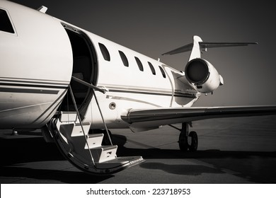white private plane at the airport