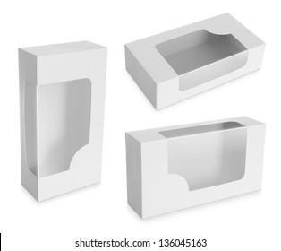 White Product Package Box With Window isolated over white background