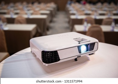 white projector in meeting seminar room