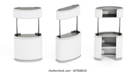 White promotion stands isolated on white background