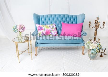 Stupendous White Provance Living Room Interior Blue Stock Photo Edit Theyellowbook Wood Chair Design Ideas Theyellowbookinfo