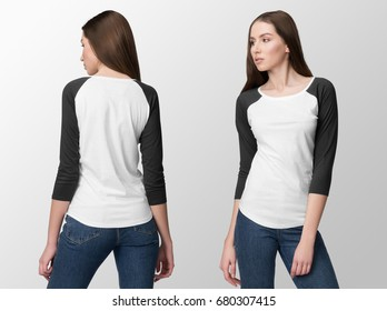 White pullover baseball t-shirt, with black sleeves on a young woman in jeans, isolated, front and back.