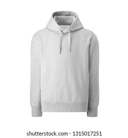 White Pullover Hoodie Isolated. Front View Women's or Men's Clothing Sweat Jumper. Unisex Long Sleeves Apparel. Hooded Sweater Garment. Bunny Hug Kangaroo Sweatshirt with Drawstrings Hood