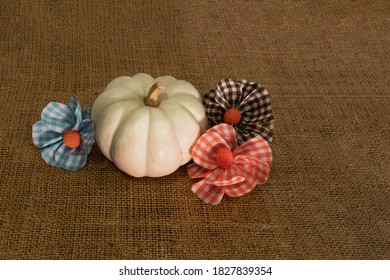 White pumpkin with checkered fabric flwoers on brown burlap textured background.