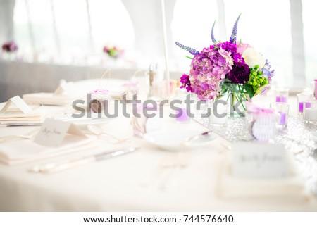 White Purple Wedding Table Setting Stock Photo (Edit Now) 744576640 ...