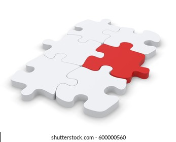 White puzzle with one red puzzle piece that stands out - 3D Illustration