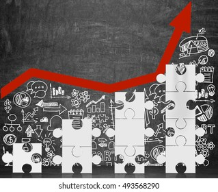 White puzzle pieces ladder standing near blackboard with red graph and business icons. Concept of successful company. Mock up