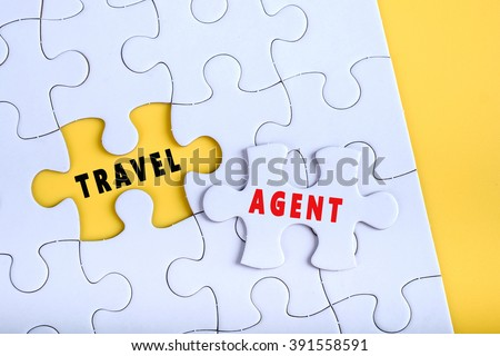 white puzzle word travel agent stock photo edit now 391558591