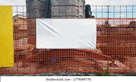 white pvc banner hanging outside construction site outdoor advertising space mockup