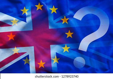 White question mark near overlapped flags of European union and Great Britain