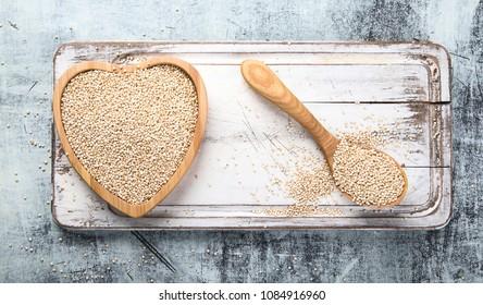 White quinoa seeds.  Superfood