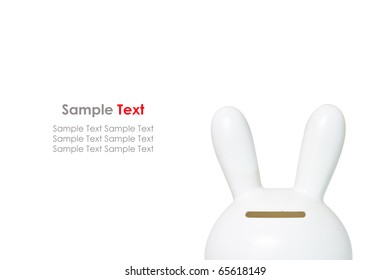 White Rabbit Savings Bank on White Background
