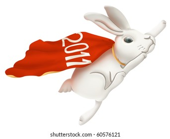White rabbit. A symbol of New 2011 year. Includes path.