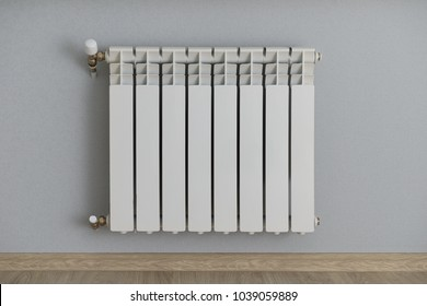 white radiator on the wall with wallpaper gray-blue