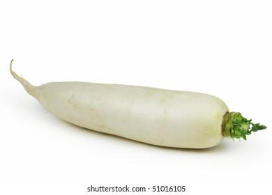 White radish on white background