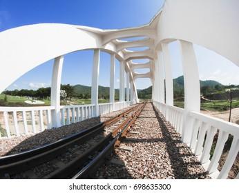 White railroad bridge with blue sky in thailand No.3