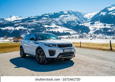 White Range Rover Evoque. Austria, Alps - March 25, 2018: Latest brand new white 2018 Range Rover Evoque. Beautiful car SUV in the nature deep in Alps. Range Rover bestselling model in the wild.
