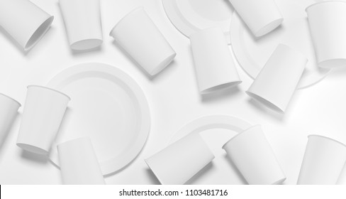 White Realistic Plastic Cups And Plates Top View 3D Rendering Illustration  sc 1 st  Shutterstock & Plastic Plate Images Stock Photos u0026 Vectors | Shutterstock