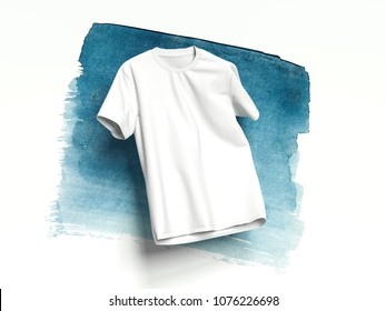 White realistic T-shirt on white background with light blue smear, 3d rendering