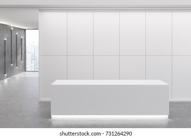 White reception desk is standing in an office lobby with pannel walls and large windows. Narrow lamps on gray walls. 3d rendering mock up