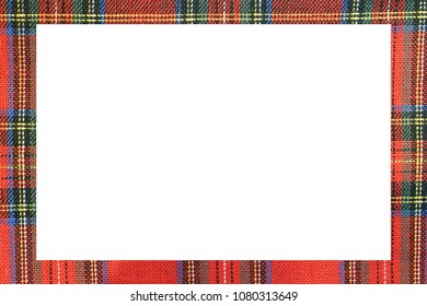 white rectangle with large frame with the texture of the famous tartan Scottish fabric