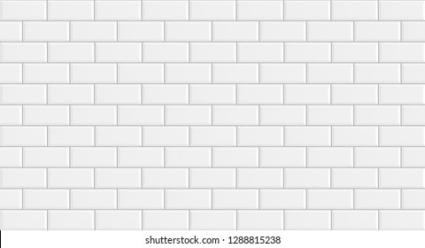 White rectangle mosaic tiles texture  background. Classic white metro tile. Long wide picture.