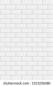 White rectangle mosaic tiles texture  background. Classic white metro tile. Vertical picture.