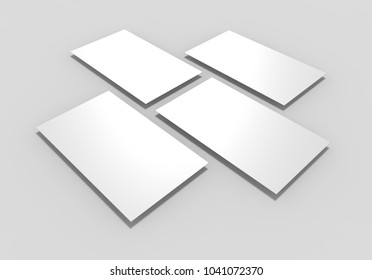 white rectangles field for web site design and Smartphone screen app interface mockup isolated on light grey background, 3d illustration.