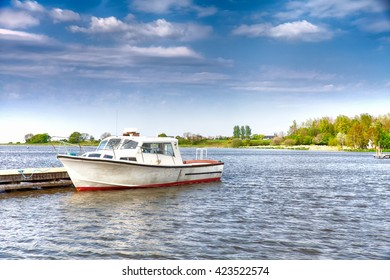 White and Red Boat on Lake (Lough Neagh, Northern Ireland).