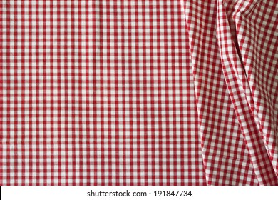 the white and red checkered tablecloth for background