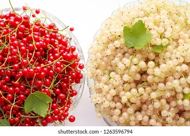 White & red currant close-up in bowl as background. Harvest ripe berries of currants. Juice fruits from farm garden or orchard white, red currant on table with green leaf top view. Berries background