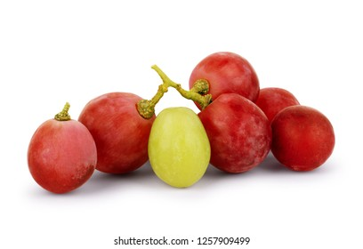 White and red grapes on a white background