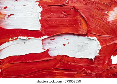 white and red oil paint brush strokes texture background  -mixing