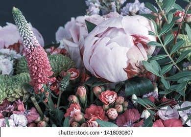white red peony,vintage color spring flower bouquet,chrysanthemums, kalanchoes,dianthus,lupinus,sea-lavender,blurry black background