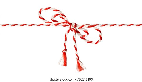 White Red Rope Bow Isolated over White Background, Twine Color Ribbon and Tied Knot