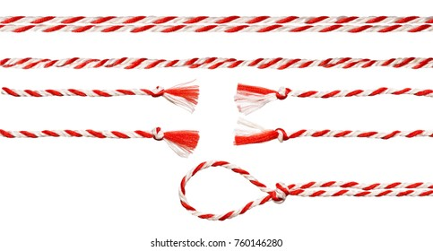 White Red Rope Bow Isolated over White Background, Twisted Ribbon and Loop