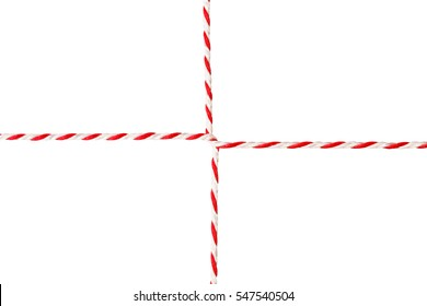 White Red Rope, Postal Envelope Cord, Wrapped Twine Ribbon, Isolated over White Background