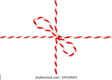 White Red Rope Tied Bow, Postal Ribbon, Isolated Wrapping Twine Cord