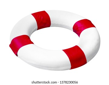 White red safety torus isolated on white background,include clipping path