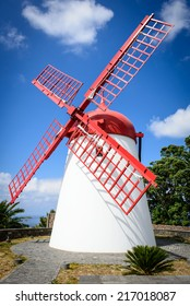White and red windmill against blue sky, Sao Miguel, Azores, Portugal, Europe