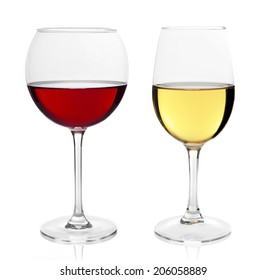 White and Red wine glass