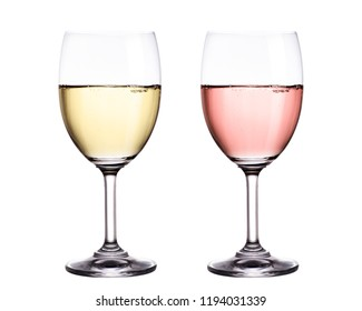 White and red wine in glass isolated on white background.