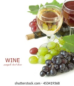 White and red wine in glasses, bottle and grapes with leaves isolated on white background