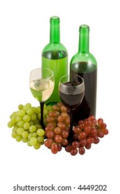 White and red wine with grape