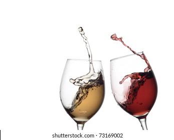 White and red wine up horizontal view