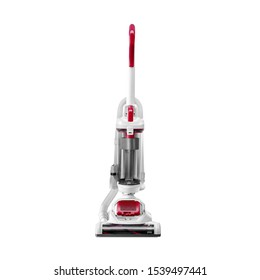 White and Red Wireless Bagless Upright Vacuum Cleaner Isolated on White Background. House Cleaning Equipment Tool. Electric Domestic Appliances. Household and Home Appliance