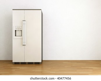 White refrigerator to face a blank wall